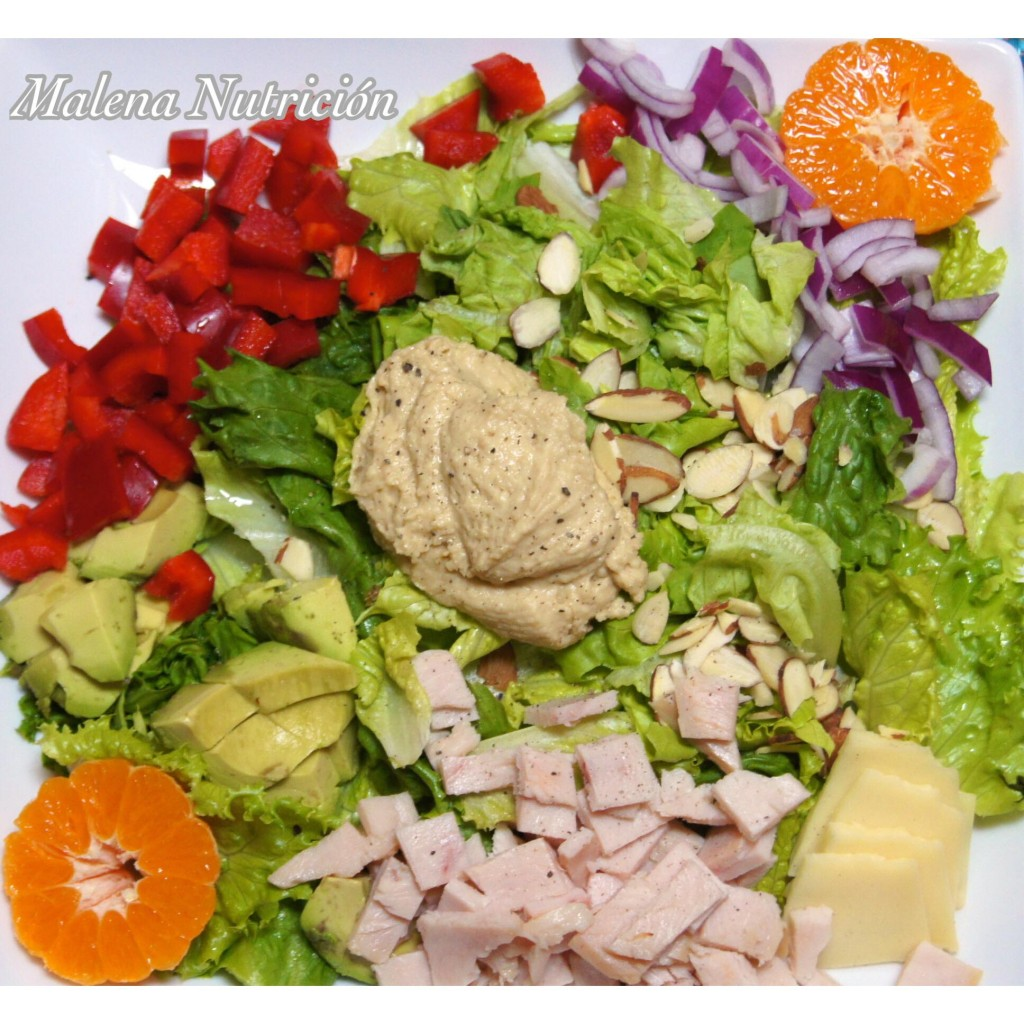 A complete salad with foods from all food groups