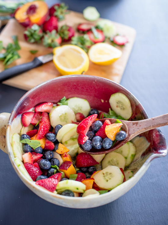 Frutas con pepino