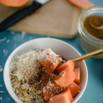 Oatmeal with papaya and coconut