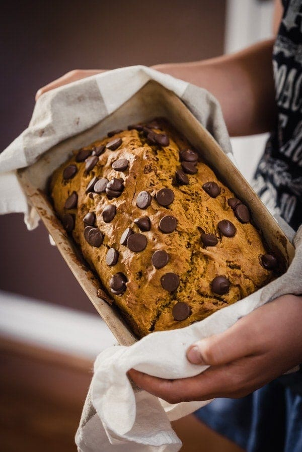 Pumpkin bread with chocolate chips