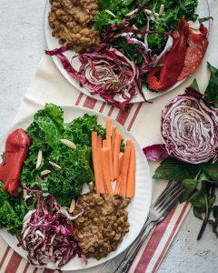 Ensalada de kale con lentejas