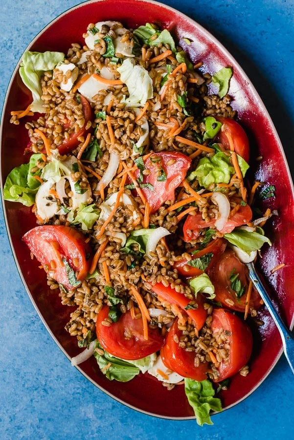 Pearled Farro with tomatoes- Delicious Grain Salad!