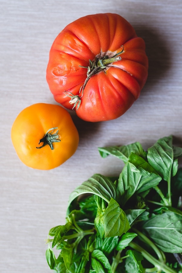 Tomatoes and basil ingredients for any dish especially for a farro salad.