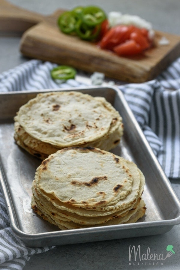 Homemade corn tortillas.