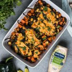 Vegetarian Stuffed Poblano with Chipotle Cheese Mayonnaise Dressing.