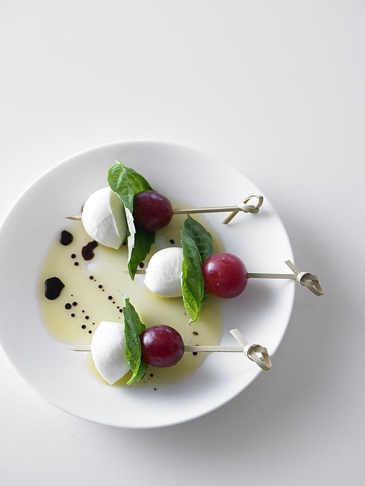 Grape Caprese Salad on a plate.